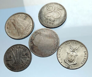 GROUP-LOT-of-5-Old-SILVER-Europe-or-Other-WORLD-Coins-for-your-COLLECTION-i74374