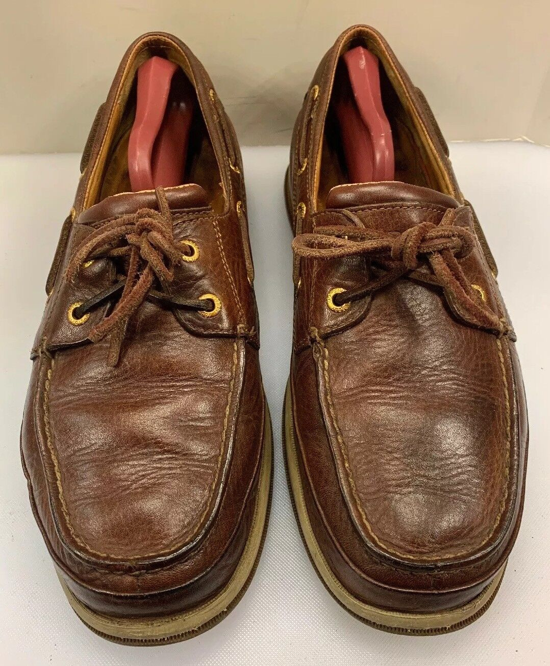 Sperry Top Sider gold Cup Men 9.5 M Boat shoes Brown 2 Eye Vibram Sole 0851725