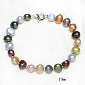 Natural-Baroque-Freshwater-Cultured-Pearl-Women-Bracelet-Bangle-Jewelry-Gifts