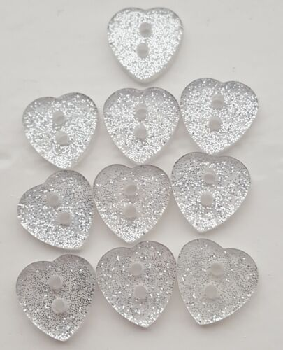 SPARKLY SILVER PINK PURPLE GLITTER HEART BUTTONS 10,25,50 SEWING CRAFT BABY
