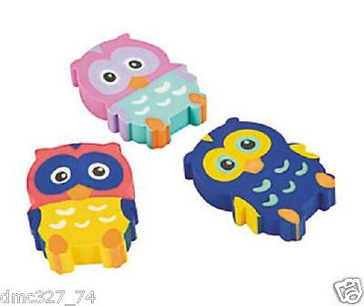 12 Birthday Everyday Party Favors OWL You're A Hoot  Mini Owl Shaped ERASERS