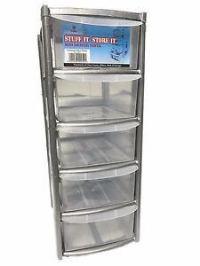 Superbe Image Is Loading 5 DRAWER SILVER TOWER UNIT PLASTIC DRAWERS STORAGE