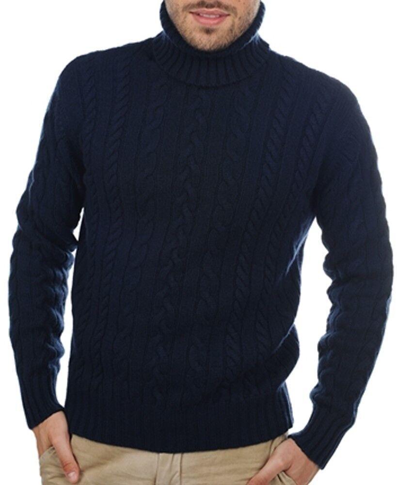 Balldiri 100% Cashmere Cashmere Cashmere Collo Alto Trecce Pullover 10 fädig Blu Scuro L f5b1ee