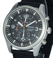 SEIKO MILITARY CHARCOAL BLACK DIAL CHRONO With FABRIC BUCKLE STRAP SNDA57P1