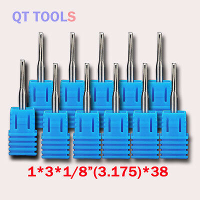 """10Pcs Double Two Flute Straight Slot CNC Router Bits Wood MDF Milling 1//8/"""" 25mm"""