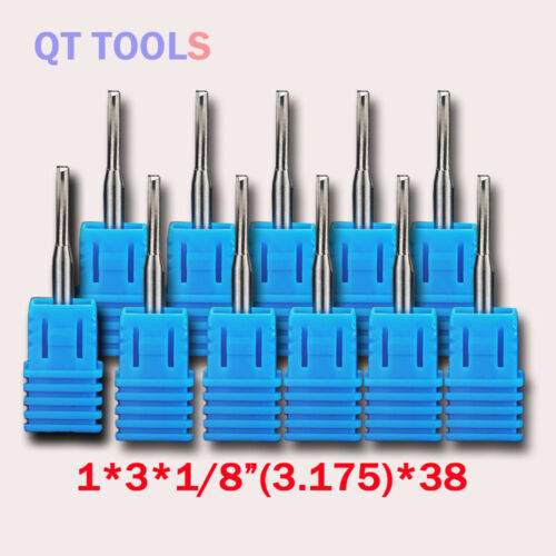 """10Pcs Double Two Flute Straight Slot CNC Router Bits Wood MDF Milling 1//8/"""" 1mm"""