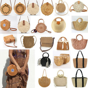 4643cafef027 Details about Summer Womens Bohemian Woven Handbag Shoulder Beach Bag  Casual Tote Straw Wicker