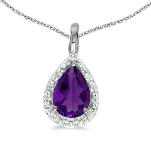 "14k White Gold Pear Amethyst Pendant with 18/"" Chain"