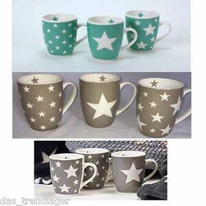 becher kaffeetasse kaffeebecher 3 er set stars geschirr stern porzellan tassen ebay. Black Bedroom Furniture Sets. Home Design Ideas