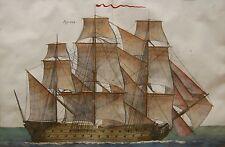 Gravure aquarellée fin XVIIIe VAISSEAU de guerre signée Benard direxit