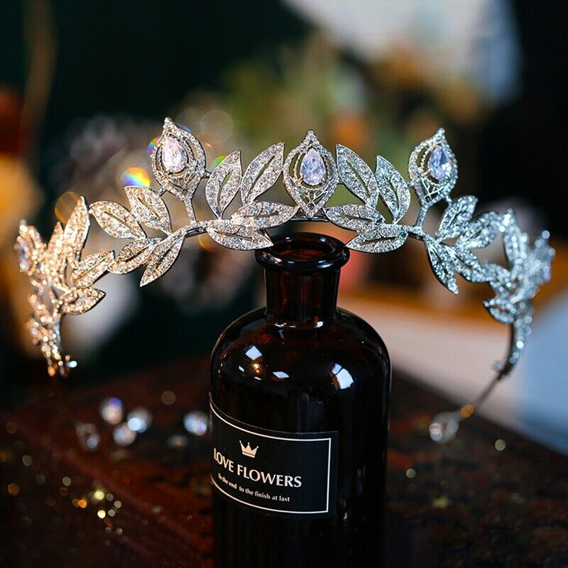 Irregular Silver Leaf Brides Hairbands Zircon Crystal Wedding Tiaras Headpieces