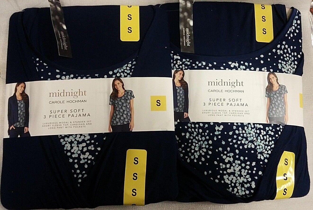 80575f75022 2 Hochman Midnight Super Soft 3 Piece Pajama Small Carole Sapphire  oonfmb1171-Sleepwear   Robes