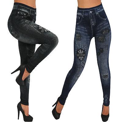 THERMO Leggings Hose Jeans Look hoher Bund warm gefüttert Kontrast Streifen