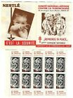 carnet timbres contre Tuberculose 1957-58 Nestlé