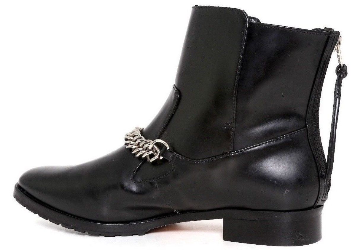 Elizabeth And James Womens Black Price Leather Chain Ankle Boots Boots Boots Sz 9 2048  1a430c