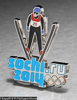 OLYMPIC PINS BADGE 2014 SOCHI RUSSIA CUT OUT SPORT OF SKI JUMPING SILVER
