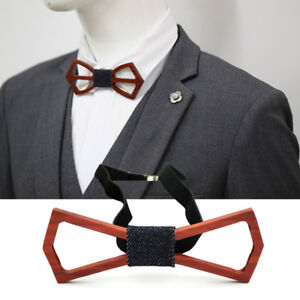 Formal Bow Tie Accessory Men Solid Wedding Party Bamboo Wood Bowtie Neck Wear CA
