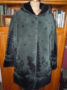 ALPINE STUDIO GREEN & BLACK REVERSIBLE MOOSE IN WOODS FLEECE ...