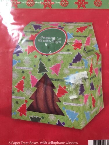 lot of 2 Holiday Treat Boxes with Cellophane Window with stickers 12 count
