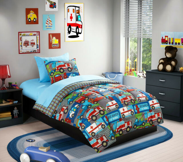 on sale 023e9 a6b22 Kids Bed in a Bag Bedding Set Blue Reversible Police Fire Truck Cars Twin  Size