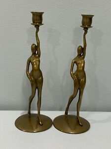 Vtg-Robert-Thew-Patinated-Bronze-Art-Deco-Style-Nude-Woman-Candle-Sticks-Holders