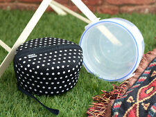 BUILT NY Bento Salad Bowl, Black & White Polka Dot NEOPRENE SLEEVE