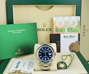 ROLEX - Mens 41mm White Gold & SS DateJust II Blue Index 116334 - SANT BLANC