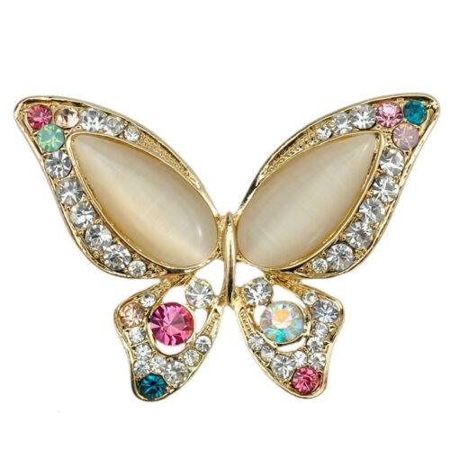 Opal Strass Brosche für Hochzeit Schmetterling Brosche für Damen Modeschmuck DA