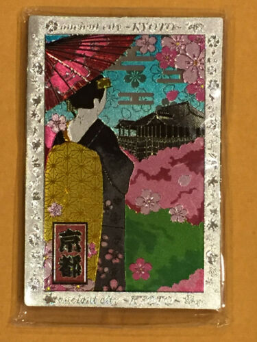 F//S Japanese Kyoto Maiko Kiyomizu Temple Etched Kitchen Magnet from Kyoto Japan