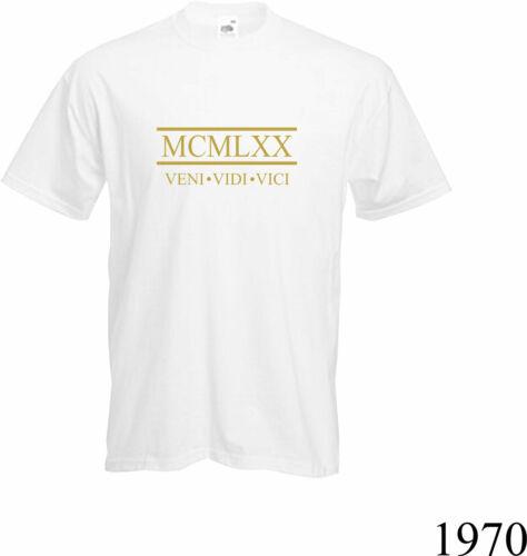 ROMAN NUMERALS 1970- T Shirt Present 2020 Gift NEW Fun 50th BIRTHDAY