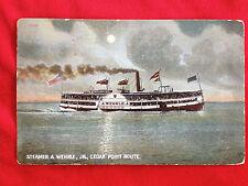Great Lake sidewheeler steamship A WEHRLE JR Cedar Point Route Sandusky Ohio OH