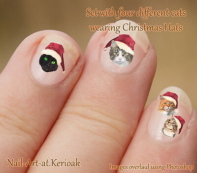 CHRISTMAS CAT SELECTION, Santa Hat  24 Unique Nail Art Stickers Decals