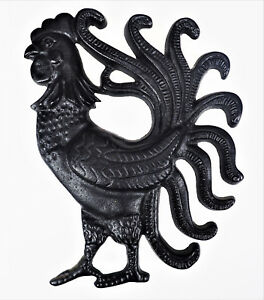 Black Cast Iron Rooster Chicken Wall Hanging Decor Cockerel Cock