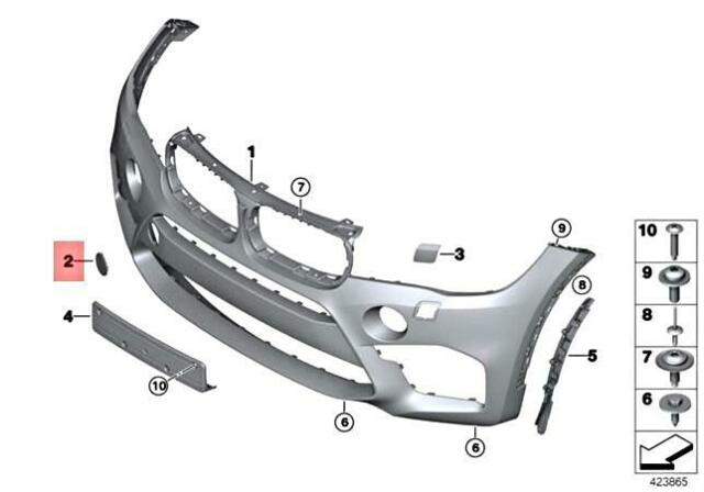 New Genuine X5 X6 M Front Bumper Tow Hook Eye Primed Cover 8066726 ...