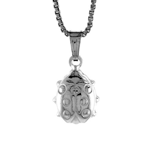 """Charm 18/"""" Box Chain Made in Italy Sterling Silver Ladybug 3D Pendant"""