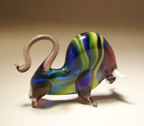 Blown Glass Art Animal Small Striped BULL Ox Figurine