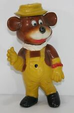 "Vintage Plastic Bear Piggy Bank Yellow overall Hat 9.5"" Rare Collectable"