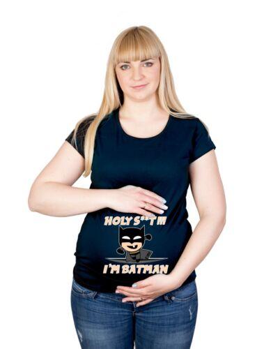 Maternity S-XXL Tiny Batman Superhero Baby Shower Funny Gift Cotton Top T-Shirt