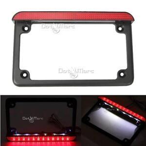 Motorcycle Led License Plate Frame With Brake Light For