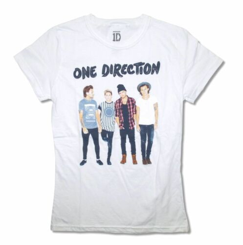 One Direction Stamp Pic Band Image Girl/'s Juniors White T Shirt Boy Pop Music