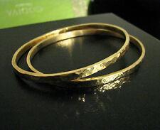 Hammered Oval Bangles Bracelets Set of 2 HANDMADE Solid 18K Gold HEAVY!!
