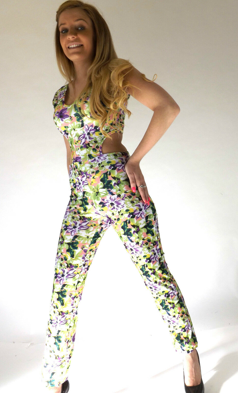 New Ladies Womens Sexy Floral Flower Festival Fashion Stretch Jumpsuit 8-12