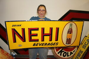 Rare-Large-Vintage-1930-039-s-Nehi-Soda-Pop-Gas-Station-45-034-Embossed-Metal-Sign