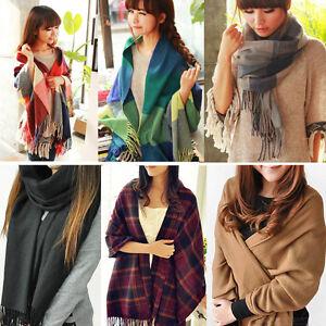 Winter-Lady-Women-Neck-Warm-Tartan-Check-Shawl-Scarf-Wrap-Stole-Plaid-Pashmina