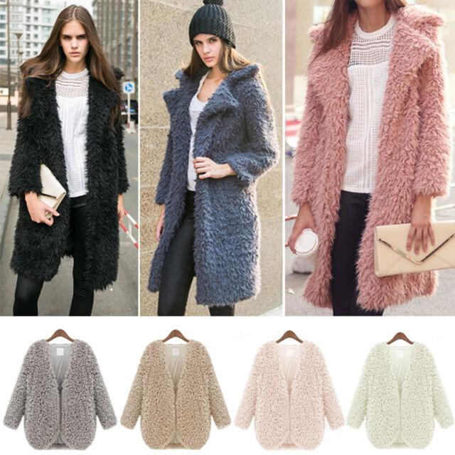 Women Fluffy Shaggy Faux Fur Cardigan Jacket Parka Coat Winter Warm Outwear Top