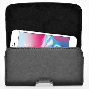 Black-Leather-Horizontal-Belt-Clip-Case-Pouch-Cover-for-Apple-iPhone-6-7-8-4-7-034