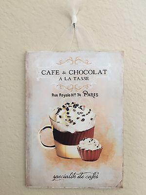 "Shabby French Paris Chocolate Plaque Wall Decor Distressed 5""x7"""