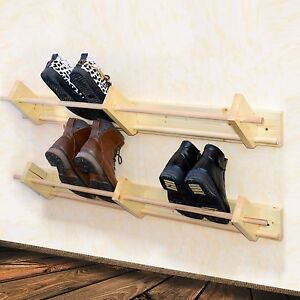 Wall Mounted Wooden Shoe Rack Floating Shoe Organiser 100 Cm