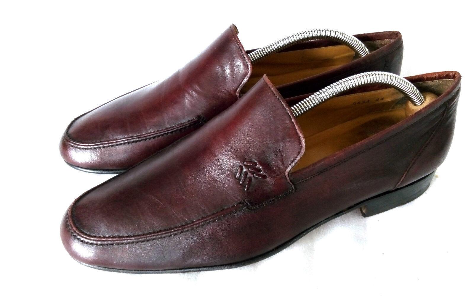 Magnanni elegante cuero loafer mocasín Apron Toe Burgundy Oxblood Nappa cuero elegante 44,5 45 fafed4