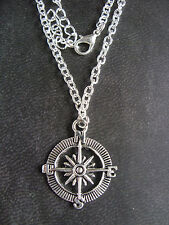 "A Tibetan Silver "" Compass "" Charm 30x25mm Chain Pendant Necklace 20"" long"
